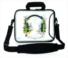 Witte False Sleevy 17,3 laptoptas artistieke hoofdtelefoon - laptophoes voorvak - laptop sleeve - smalle laptoptas - reistas - schoudertas - schooltas - heren dames tas - tas laptop