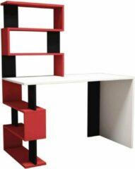 Homemaniac Homemania Computerbureau Snap 120x60x148.2 cm wit zwart en rood