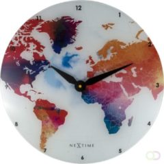 NeXtime Colorful World - Wandklok - Glas - Rond - Stil uurwerk - Ø 43 cm - Multi color