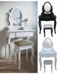 Schminktisch mit Hocker Kosmetiktisch Frisierkommode Spiegeltisch Spiegel Lunawina VCM Weiß