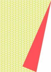 Koraalrode MTis Dubbelzijdig Cadeaupapier Groen Neon Motief- Breedte 30 cm - 175m lang - K601357/6-30cm-175mtr