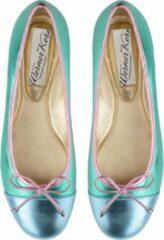 Dames Ballerina's Kleurrijk – Unieke Ballerina Schoenen – Turquoise en Roze – Nappaleer – Werner Kern Pina – Maat 37,5