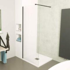 Sanigoods Clear inloopdouche 120cm helder anti-kalk incl zwart profiel & stang