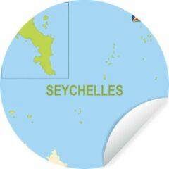 WallCircle Illustratie van een kaart met de Seychellen in het groen Wandcirkel behangsticker ⌀ 140 cm / behangcirkel / muurcirkel / wooncirkel - zelfklevend & rond uitgesneden