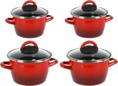Gerim Kookpannen set van 4x stuks rood 3 liter en 6 liter Cuenca - Rvs pannenset