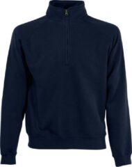 Zwarte Fruit of the Loom Navy blauwe fleece sweater/trui met rits kraag voor heren/volwassenen - Katoenen/polyester sweaters/truien L (EU 52)