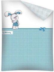 Witte All4kidsshop Ledikantmaat dekbedovertrek - My little bunny - blauw met wit - 100% katoen
