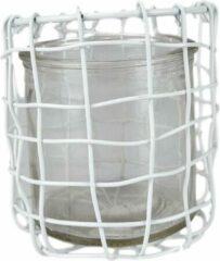 Redhart Theelichthouder JONNY - Wit / Transparant - Glas / Metaal - Ø 10 x h 9 cm