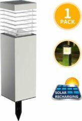Aigostar LED Solar fakkel op Zonne-energie - Stekers 47.6 cm - Tuinverlichting - Tuinlamp - Zilver - 1 Stuk