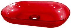Douche Concurrent Waskom Opbouw Best Design Ovaal 54x34x12cm Transparant Rood