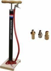 Ben Tools Klassieke fietspomp met houten plank - Fietsaccessoires fietsband oppompen - Staande fietsbandenpomp - Fietspompen - Geschikt voor alle ventielen
