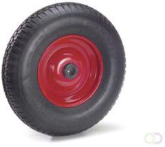 Fetra PU-geschuimd wiel 400 x 100 mm, Stalen velg - rood - blokprofiel