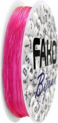 Fako Bijoux® - Elastisch Nylon Draad - Sieraden Maken - 0.5mm - 10 Meter - Donkerroze