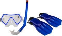 Blauwe Waimea Duikset Masker/Snorkel/Vliezen - Junior - Kobalt/Zwart