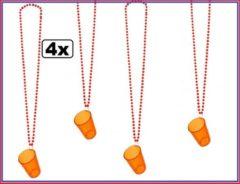 Thema party 4x Koningsdag ketting met shotglas oranje - Holland konings dag oranje bitter thema Nederland woningsdag wilhelmus