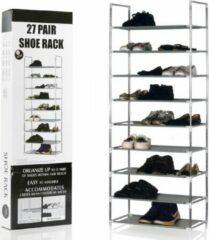 Schoenenrek voor 27 paar schoenen - 9 etages - Organizer voor schoenen opbergen - Staand opbergrek schoenenrek - Schoenenkast - Opbergsysteem van metaal met kunststof verbindingen - Schoenenrek - Grijs - Decopatent®