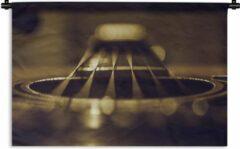 1001Tapestries Wandkleed Akoestische gitaar - Close-up van een zes snarige akoestische gitaar Wandkleed katoen 90x60 cm - Wandtapijt met foto