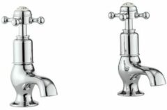 Crosswater Belgravia wastafelkranen medium koud en warm 2 gats kruisgreep chroom BL150DNC