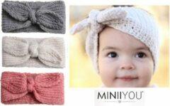 MINIIYOU Set van 3 gebreide meisjes haarbandjes (18-36 mnd) - oorwarmers met strik - wit - roze - grijs - peuter - dreumes - hoofdband