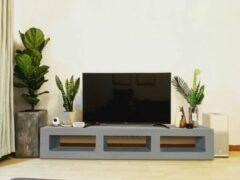 Grijze Betonlook TV-Meubel open vakken | Platinum Grey | 100x40x40 cm (LxBxH) | Betonlook Fabriek | Beton ciré