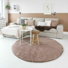 Taupe Tapeso Hoogpolig vloerkleed shaggy Trend effen rond - mokka 80 cm rond