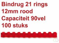 Fellowes bindruggen, pak van 100 stuks, 12 mm, rood