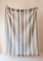 TBCo Prachtig Picknickkleed NU met taupe kleurige leren draagset  Neutral Stripe   Duurzaam wol met waterdichte laag   From Scotland