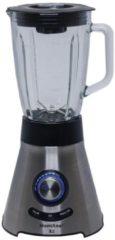 Zilveren Montana - Power Blender X2 - 1000watt - 6-voudig RVS messen - grote en dikke glazen mengkan à 1,5 liter - ijscrusher