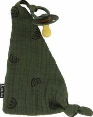 Donkergroene Louka speendoekje driehoek regenboog legergroen - groen - jongen - meisje - hydrofiel katoen - speenknuffel excl. bibs speen