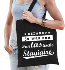 Bellatio Decorations Cadeau tas zwart katoen met de tekst Fantastische stagiaire - kadotasje / shopper voor stagiaire dames