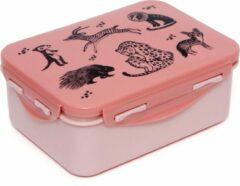 Petit Monkey lunch box animals - Brooddoos - Broodtrommel -Lunchbox - Dieren Roze