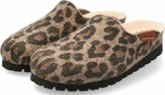 Mephisto THEA Dames Klomp/Slipper - Bruin Jaguar - Extra breed - Maat 36