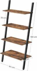 VASAGLE Staand rek, ladderrek, wandrek met 4 niveaus, industrieel design boekenkast, aanzetrek, woonkamer, keuken, kantoor, ijzer, stabiel, schuin aan de muur, donkerbruin