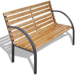 Bruine VidaXL Tuinbank modern ijzer en hout