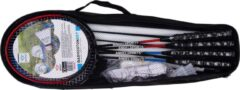 Zwarte Angel Sports Luxe Bamintonset 4 spelers met 2 shuttles met netpost