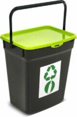 Plast Team Kunststof afvalbak met deksel 10L Afvalscheidingssysteem Recycling Prullenbak Afvalopvangbak - Groen