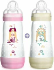 MAM Anti-Colic Easy Start-fles - 320 ml - Flow speen 3 - pak van 2 - meisje