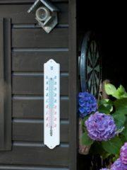 Witte Muurthermometer kunststof wit 49,5x9,7x0,8cm Nature