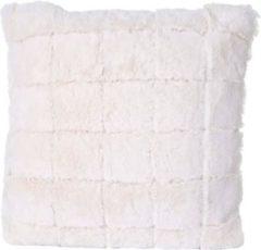 Heute-wohnen Deko-Kissen Karo, Sofakissen Zierkissen mit Füllung, flauschig weiß Fellimitat 45x45cm