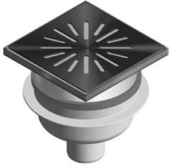 Zilveren Tegeldepot Doucheput Aquaberg ABS Vloerput RVS Opzetstuk RVS Rooster Onderuitlaat 50mm 150x150mm PPC Reukafsluiter