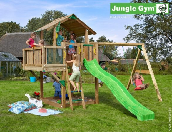 Afbeelding van Jungle Gym | Chalet + Balcony + 2-Swing X'tra | DeLuxe | Paars