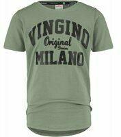 Donkergroene Vingino! Jongens Shirt Korte Mouw - Maat 110 - Legergroen - Katoen/elasthan