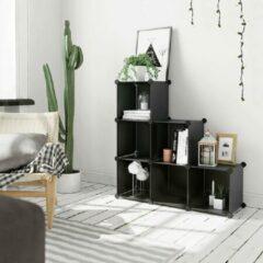 SONGMICS reksysteem opstapplank kunststof standaard plank opbergkast 93 x 31 x 93 cm (bxdxh) zwart LPC112