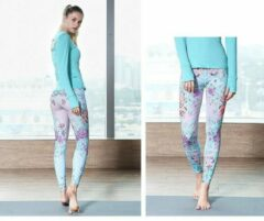 Groene Yoga legging mooie kwaliteit all over print - Semmin Sports Yoga Collection