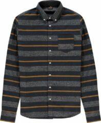 Kultivate gestreept regular fit overhemd donkerblauw/geel