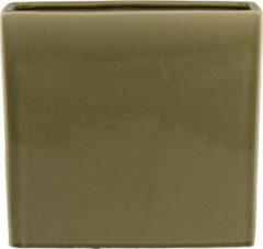 D&M Deco Cuboid Facet Grey groen rechthoek L 38x11x37 cm goudgroene bloempot voor binnen