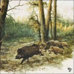 Ambiente Wild Boars In The Woods papieren servetten