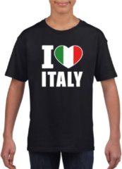 Zwarte Shoppartners Zwart I love Italy supporter shirt kinderen - Italie shirt jongens en meisjes M (134-140)