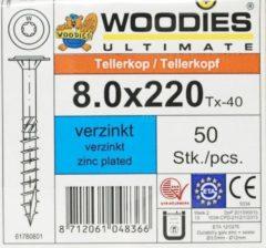 Woodies-ultimate Woodies tellerkopschroeven 8.0x220 verzinkt T-40 deeldraad 50 stuks