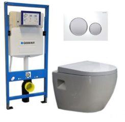 Douche Concurrent Geberit UP 320 Toiletset - Inbouw WC Hangtoilet Wandcloset - Daley Sigma-20 Wit Mat Chroom